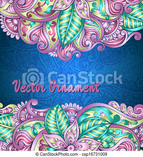 Vintage vector pattern. Hand drawn abstract background. Decorative retro banner.  Can be used for banner, invitation, wedding card,  scrapbooking and others. Royal vector design element. - csp16731009