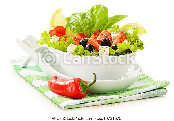 Vegetable salad bowl isolated on white - csp16731578