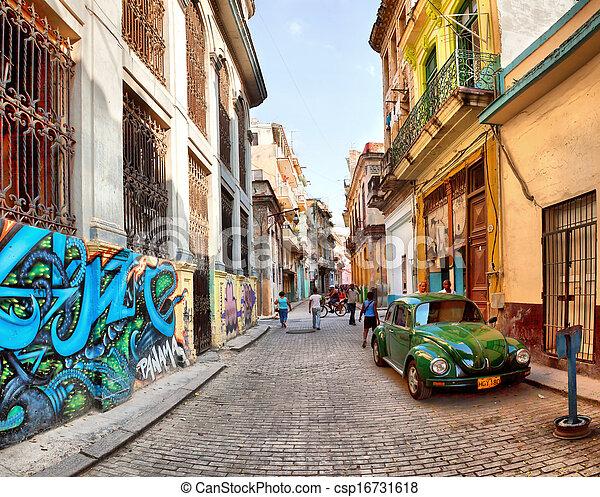 Stock Photography of HAVANA, CUBA-MAY 14: Street scene ...