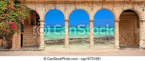Historic building with arches and flowers - csp16731681