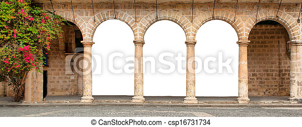 Historic building with isolated arches and flowers - csp16731734