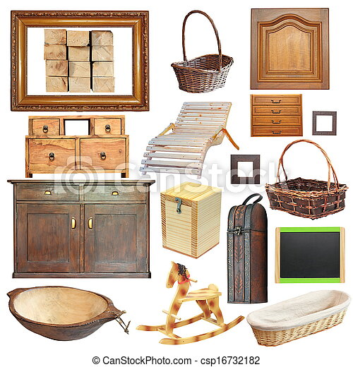 collection of isolated old wooden objects - csp16732182
