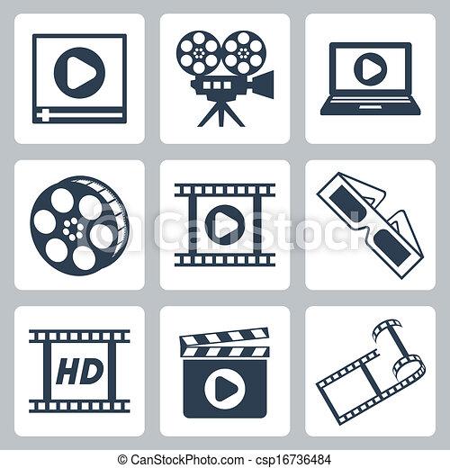 Vector isolated cinema/video icons set - csp16736484