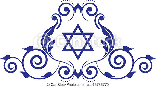 Vectors Illustration of floral icon with star of David - Vector floral ...