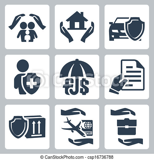 Vettore di vita affari famiglia icone viaggiare for Assicurazione casa on line
