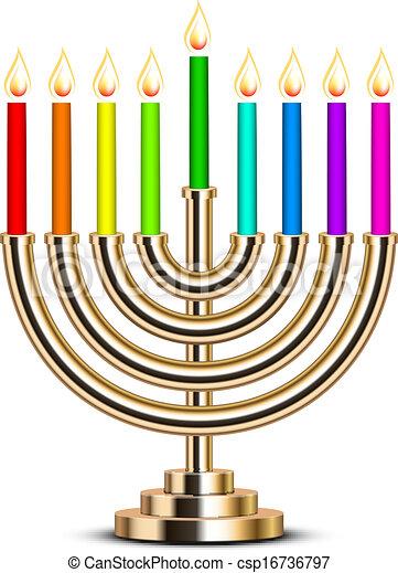 gold Hanukkah menorah - csp16736797