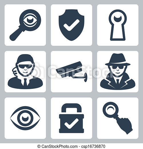 Vector spy and security icons set: magnifying glass, shield, heyhole, security man, surveillance camera, spy, eye, lock - csp16736870