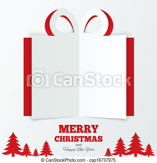 Christmas gift box cut the paper. Christmas tree. - csp16737975