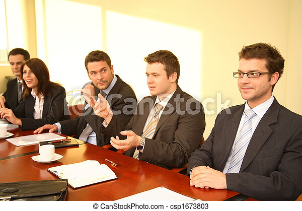 Five business persons at a Conference  - csp1673803