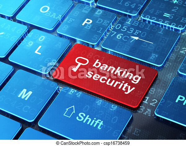 Safety concept: Key and Banking Security on computer keyboard background - csp16738459
