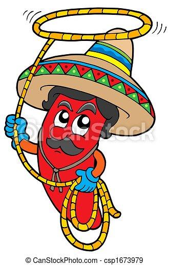 chile, mexicano, caricatura, lazo - csp1673979