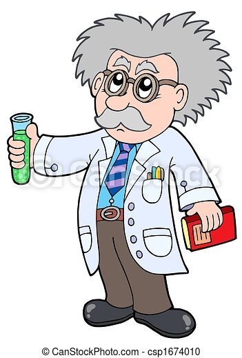 Stock Illustration of Cartoon scientist - isolated ...