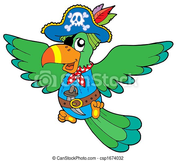 Flying pirate parrot - csp1674032