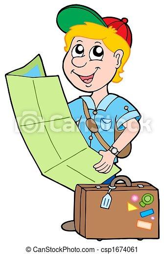 Clipart de petit voyageur blanc fond isol - Voyageur dessin ...