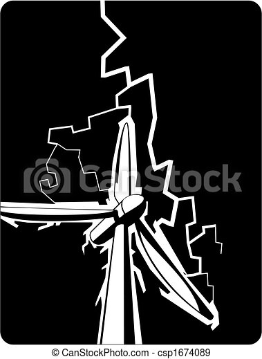 wind turbine struck by lightning - csp1674089