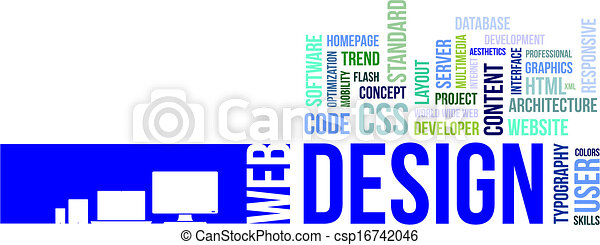 word cloud - web design - csp16742046