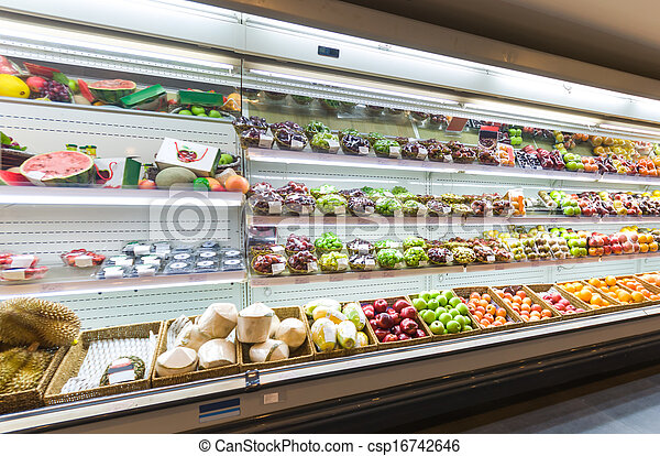 Shelf with fruits in supermarket - csp16742646