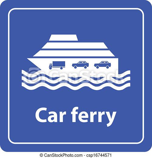 汽车, 渡轮, 港口, 海, 签署, 矢量