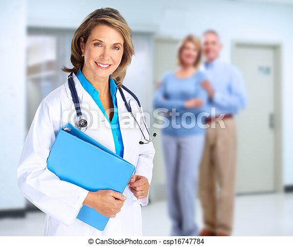 família, médico, mulher, sorrindo, doutor - csp16747784