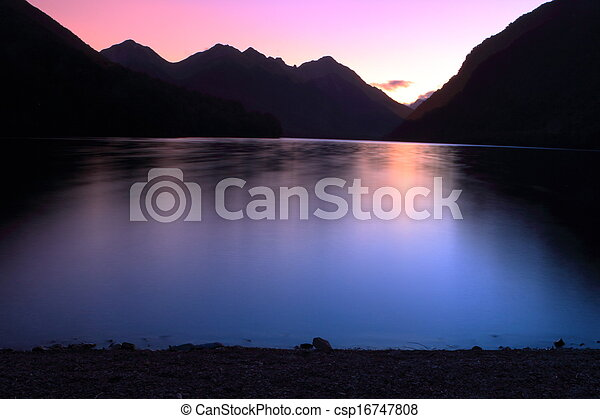 Mountain lake at dusk - csp16747808