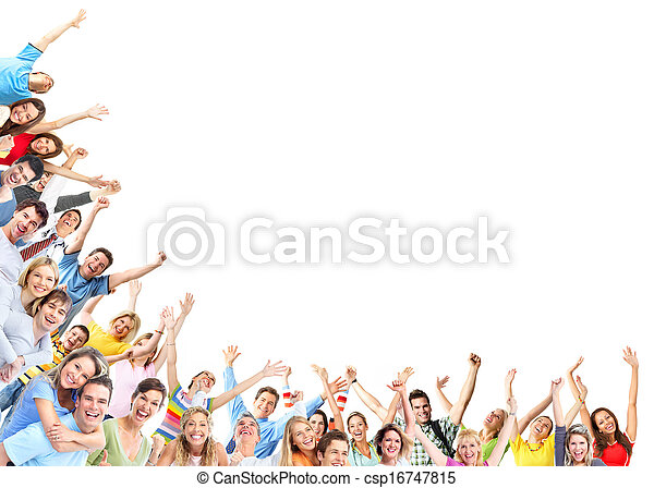 heureux, groupe, gens - csp16747815