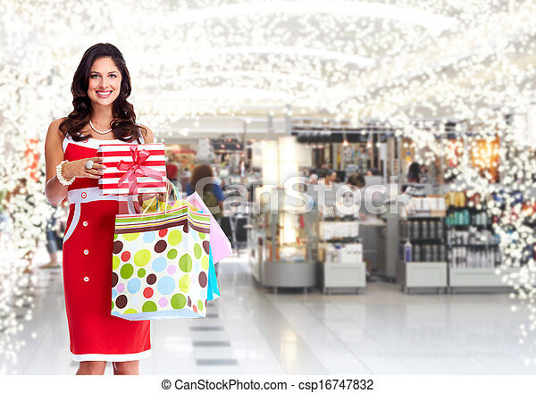 Young woman with shopping bags. - csp16747832