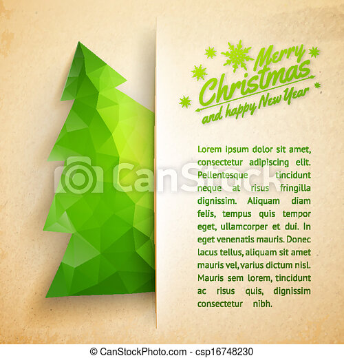 Christmas tree on a paper background - csp16748230