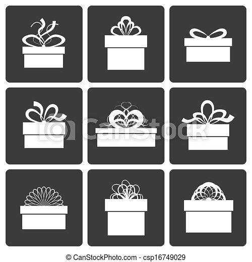 矢量, 礼物, 盒子, 图标