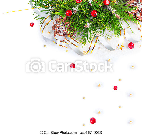 Christmas tree branch with gold serpentine and red sphere on white background isolated