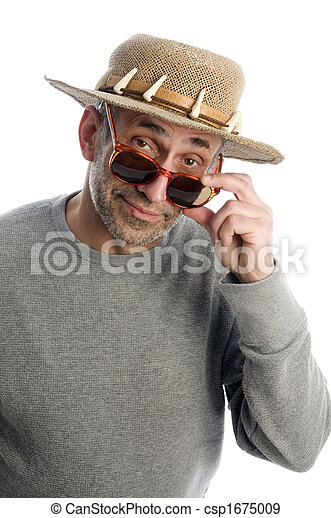 aging artist thinking  suglasses adventure hat - csp1675009