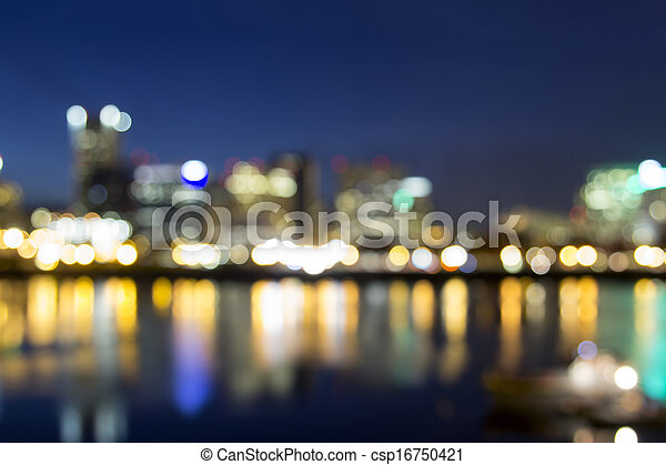 Portland Downtown Out of Focus City Lights - csp16750421