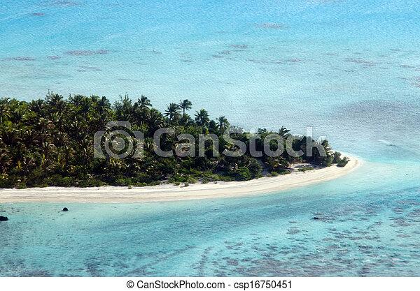 Aerial view of Aitutaki Lagoon Cook Islands  - csp16750451