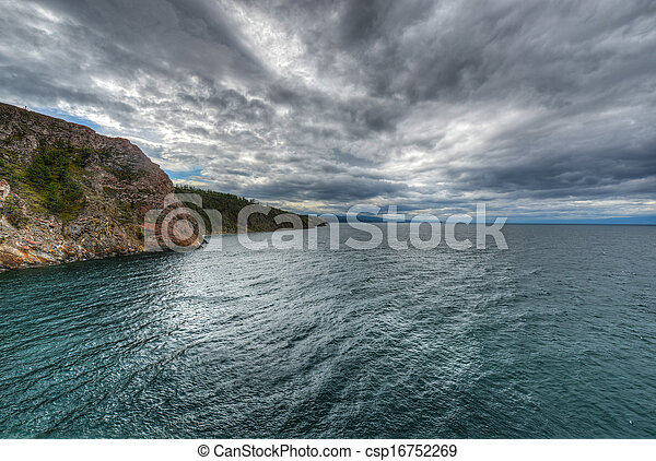 Landscape of Cape Khoboy, Olkhon Island, Baikal, Siberia, Russia on a cloudy, stormy, day. - csp16752269