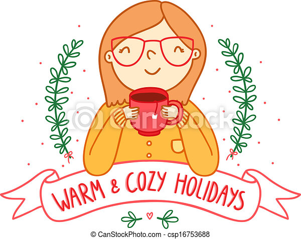 Warm and cozy holidays card - csp16753688