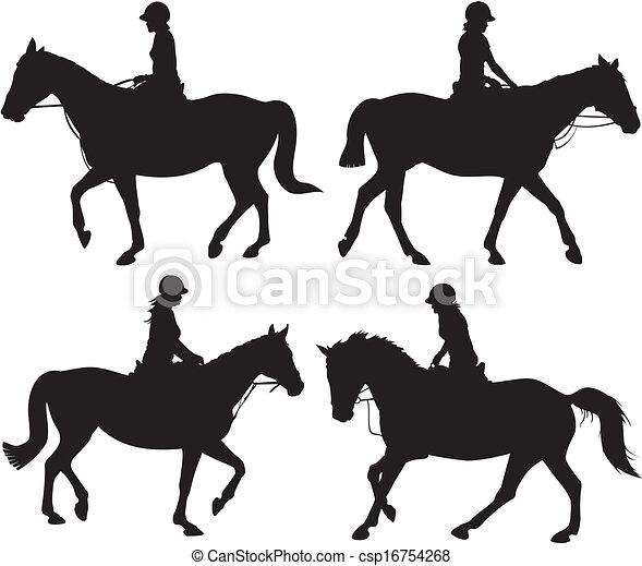 girl on horseback - vector icon - csp16754268