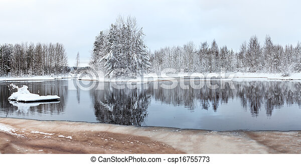 Mid size panorama of unfrozen winter lake with snow-covered trees - csp16755773