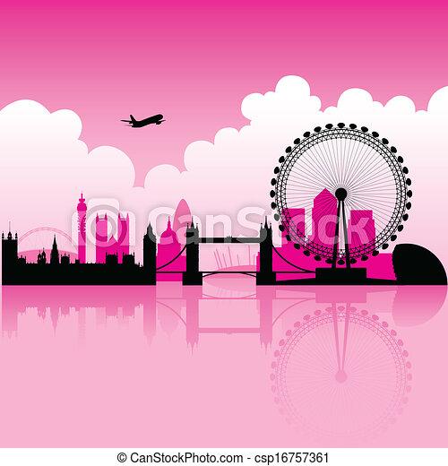 London Magenta Skyline - csp16757361