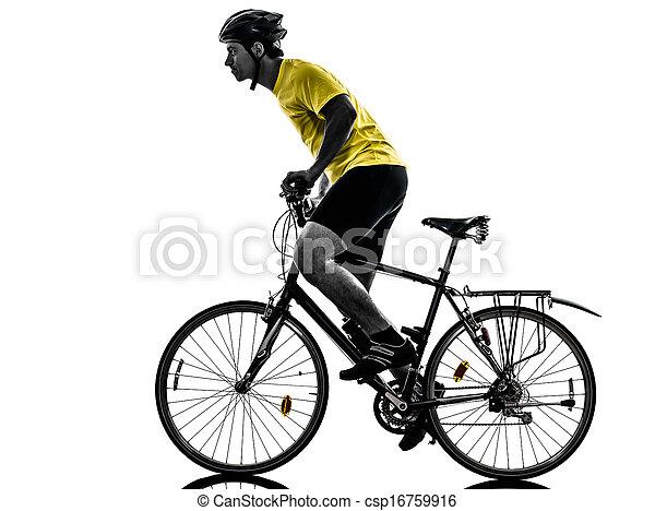 山, 自転車, シルエット, 人, 自転車に乗ること - csp16759916