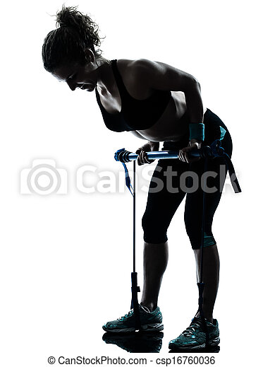 woman exercising gymstick fitness workout  - csp16760036