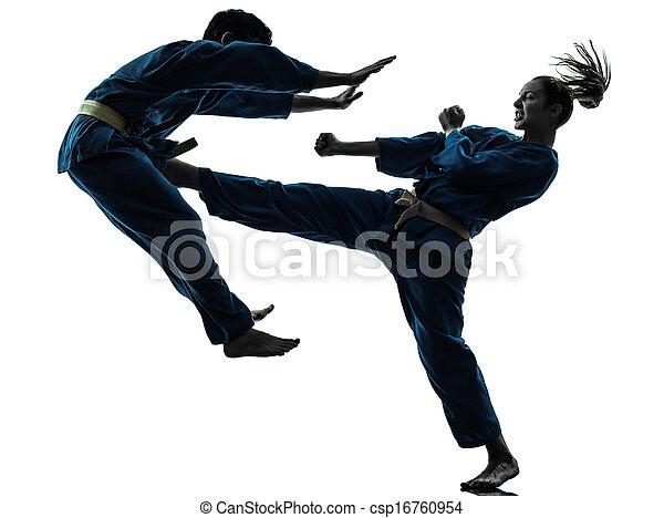 karate vietvodao martial arts man woman couple silhouette - csp16760954
