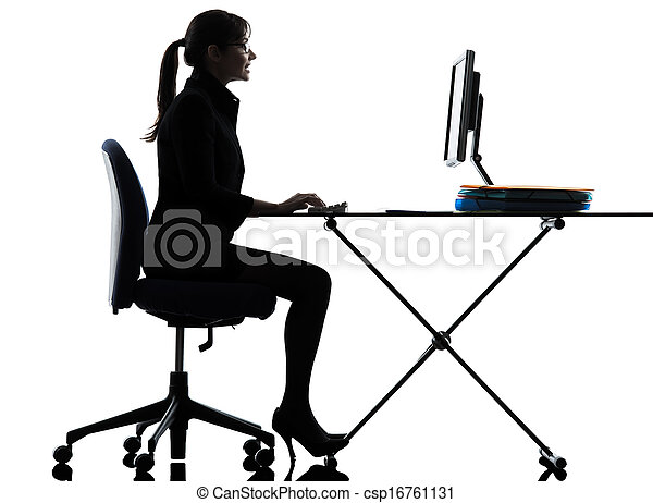 business woman computer computing  typing silhouette - csp16761131