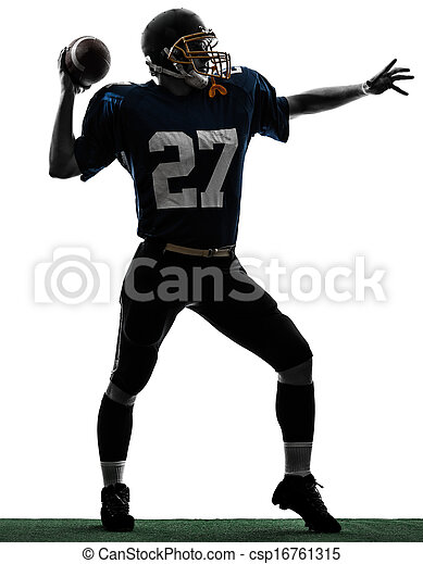 quarterback american throwing football player man silhouette - csp16761315