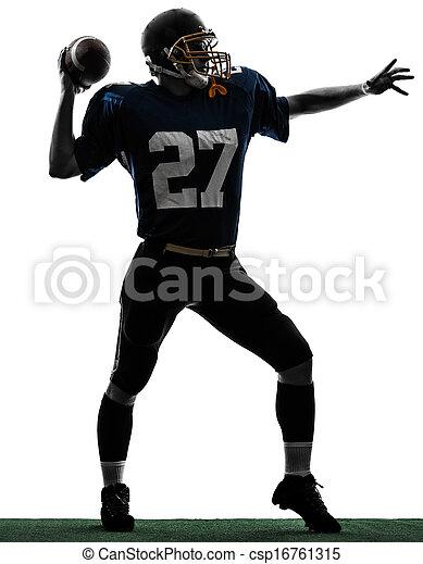 quarterback american throwing football player man silhouette - csp16761315