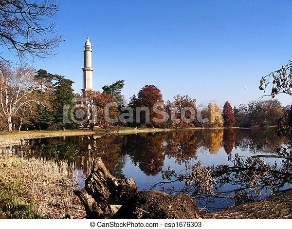 Minaret close to the lake - csp1676303