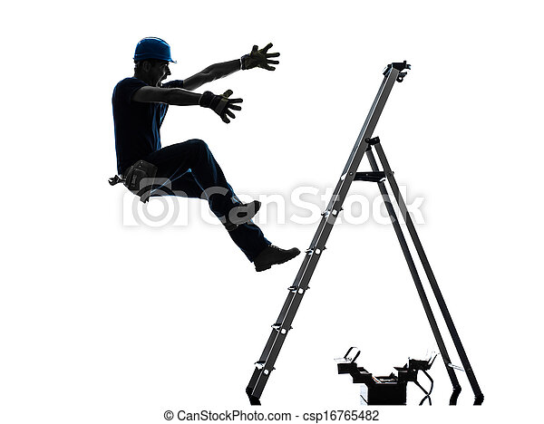 manual worker man falling from  ladder  silhouette - csp16765482