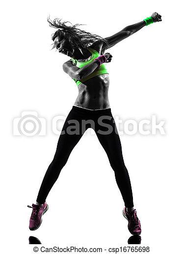 woman exercising fitness zumba dancing silhouette - csp16765698