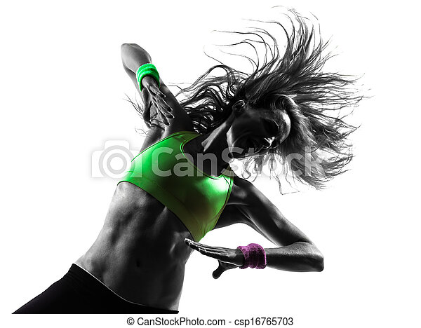 woman exercising fitness zumba dancing silhouette - csp16765703