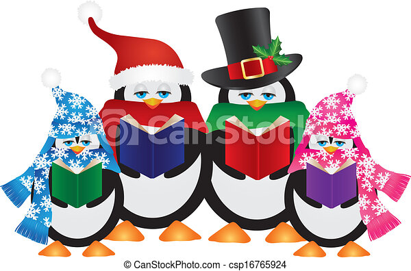 Vector Clipart of Christmas carolers penguins - Three cute ...