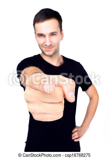 Young smiling man pointing at you - csp16768275