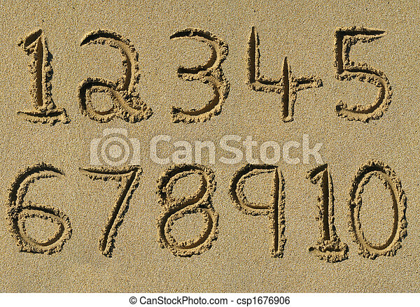 Numbers one to ten written on a sandy beach. - csp1676906